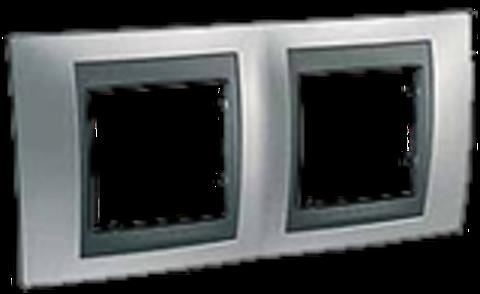 Рамка на 2 поста. Цвет Хром матовый-графит. Schneider electric Unica Top. MGU66.004.238