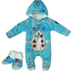Папитто. Утепленный комбинезон и пинетки Космонавт, голубой вид 1