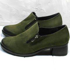 Женские туфли на каблуке 5 см демисезонные Miss Rozella 503-08 Khaki.