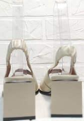 Модные летние босоножки с квадратным каблуком Brocoli H150-9137-2234 Cream.