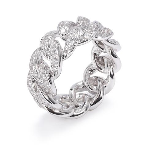 47833- Кольцо-дорожка Chain из серебра с цирконами ширина 10мм