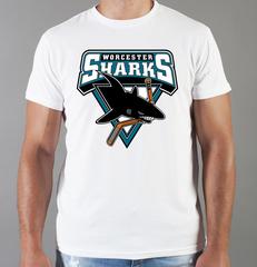 Футболка с принтом НХЛ Сан-Хосе Шаркс (NHL San Jose Sharks) белая 007