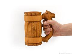 Кружка из дерева с резной ручкой «Лев» 0,5 л, фото 4