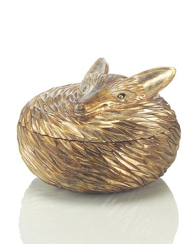 Antiqued Silver-Leaf Fox Box