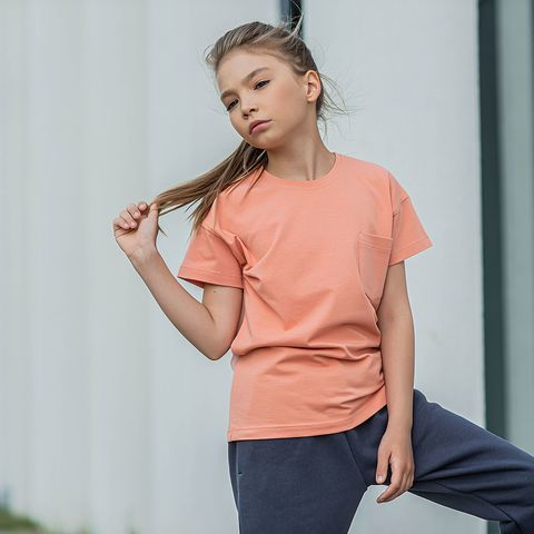 T-shirt with pocket for teens - Coral