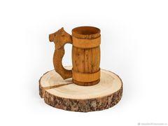 Кружка из дерева с резной ручкой «Лев» 0,5 л, фото 6