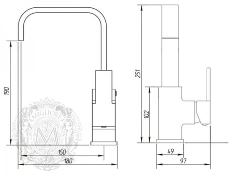 Смеситель для раковины Migliore Kvant ML.KVT-2714 схема