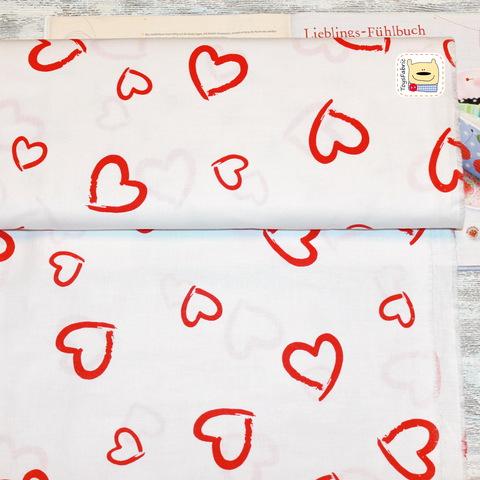 Ткань хлопок Польша П44 Сердца на белом (80х50см)