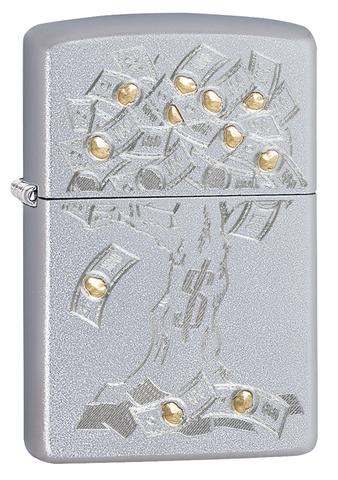 Зажигалка Zippo Money Tree Design с покрытием Satin Chrome, латунь/сталь, серебристая, 36x12x56 мм