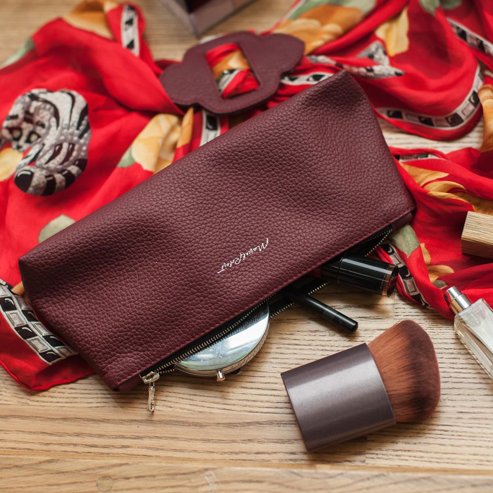 Женская косметичка Flocon Easy из натуральной кожи теленка, бордового цвета