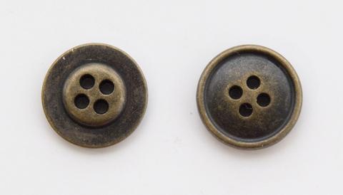 Пуговица металлическая, двусторонняя, цвет латунь, 18 мм