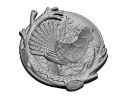 Силиконовый молд Глухарь   (медальон) № 0483