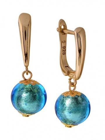 Серьги Carnavale голубые на серебряных швензах цвет 034O