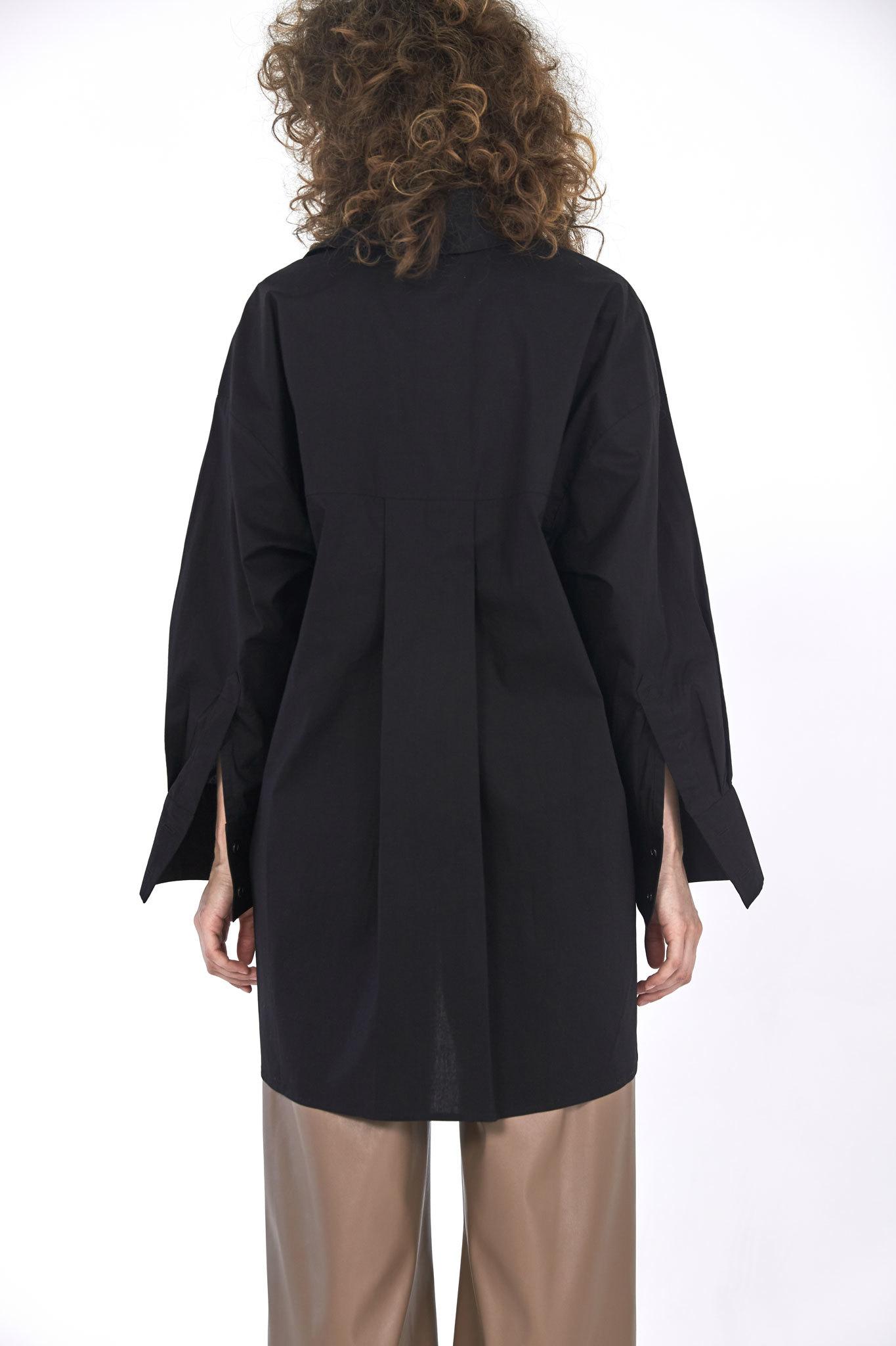 Рубашка оверсайз в мужском стиле, черный плотный хлопок