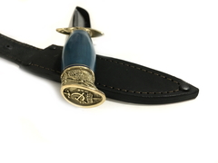 Финка НКВД со звездой, кованая сталь 95х18, карельская береза, голубой