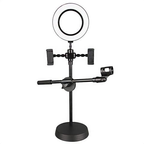 Кольцевая светодиодная лампа 16 см настольная на штативе