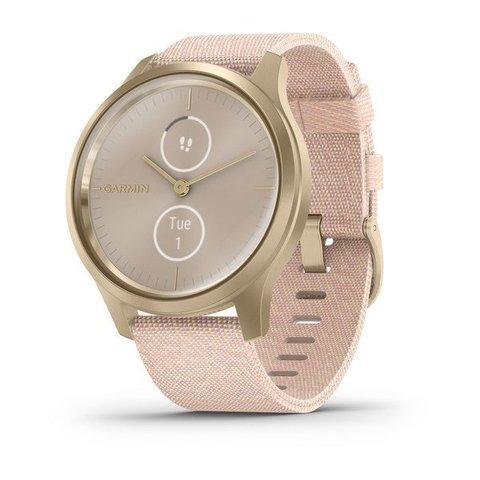 Garmin Vivomove Style - Light Gold Alum Case with Pink Nylon Band