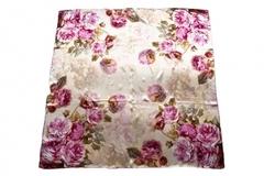Итальянский платок из шелка белый с сиреневыми цветами 0401
