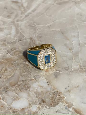 Кольцо Печатка голубое, позолота