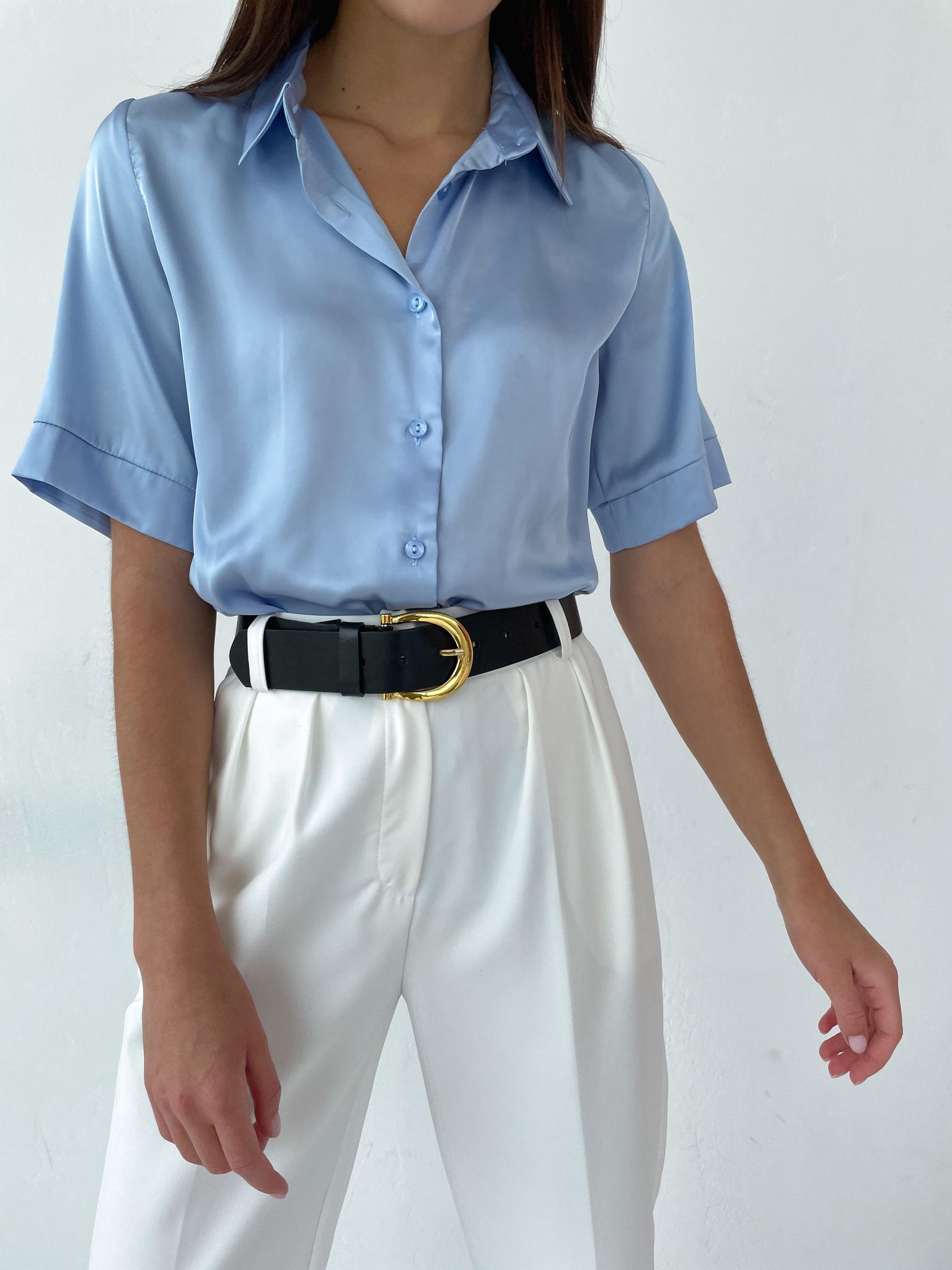 Рубашка шелковистая с коротким рукавом (голубой)