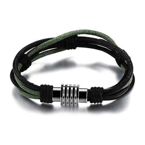 Мужской браслет из кожаного шнура с замочком Steelman mn003