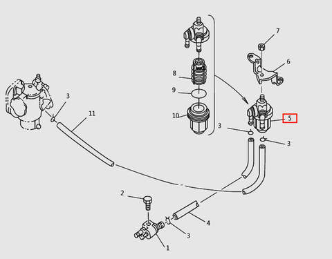 Фильтр топливный для лодочного мотора T9.8 Sea-PRO (6-5)