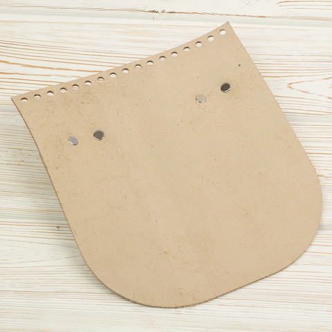 Клапан для сумочки с ручкой кожаный Кремовый