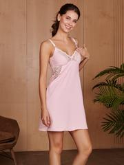 Vivamama. Сорочка для беременных и кормящих Izabel, розовый вид 2