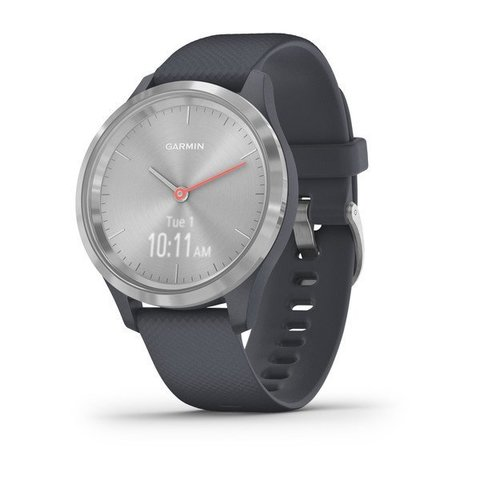 Garmin Vivomove 3s - Silver Stainless Steel Bezel with Granite Blue Case and Silicone Band
