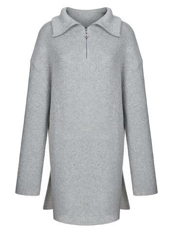 Женский свитер серого цвета из шерсти и кашемира - фото 1