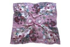 Итальянский платок из шелка сиреневый с цветами 0752