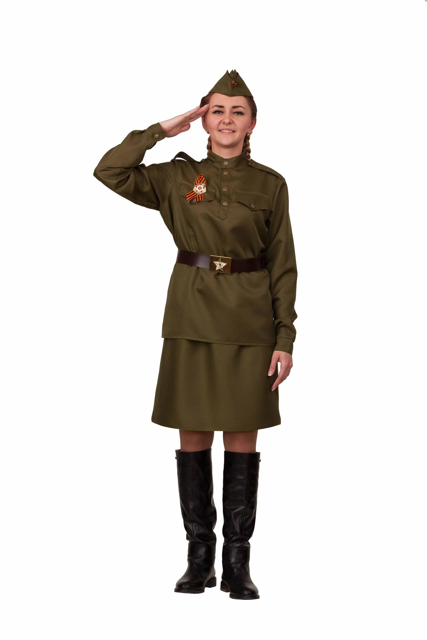 Карнавальный костюм взрослая Солдатка (текстиль)