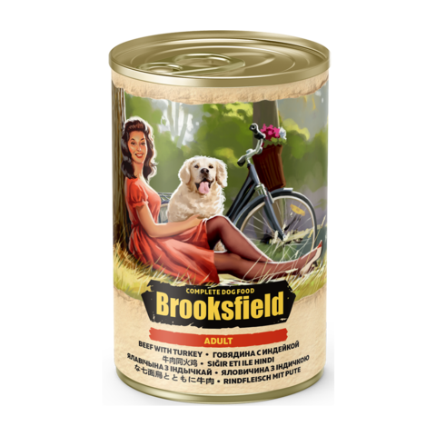 Brooksfield Adult Консервы для собак с говядиной и индейкой (Банка)