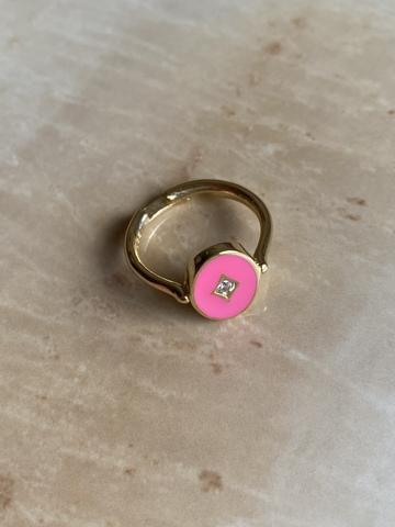 Кольцо Аврора розовое, позолоченное серебро
