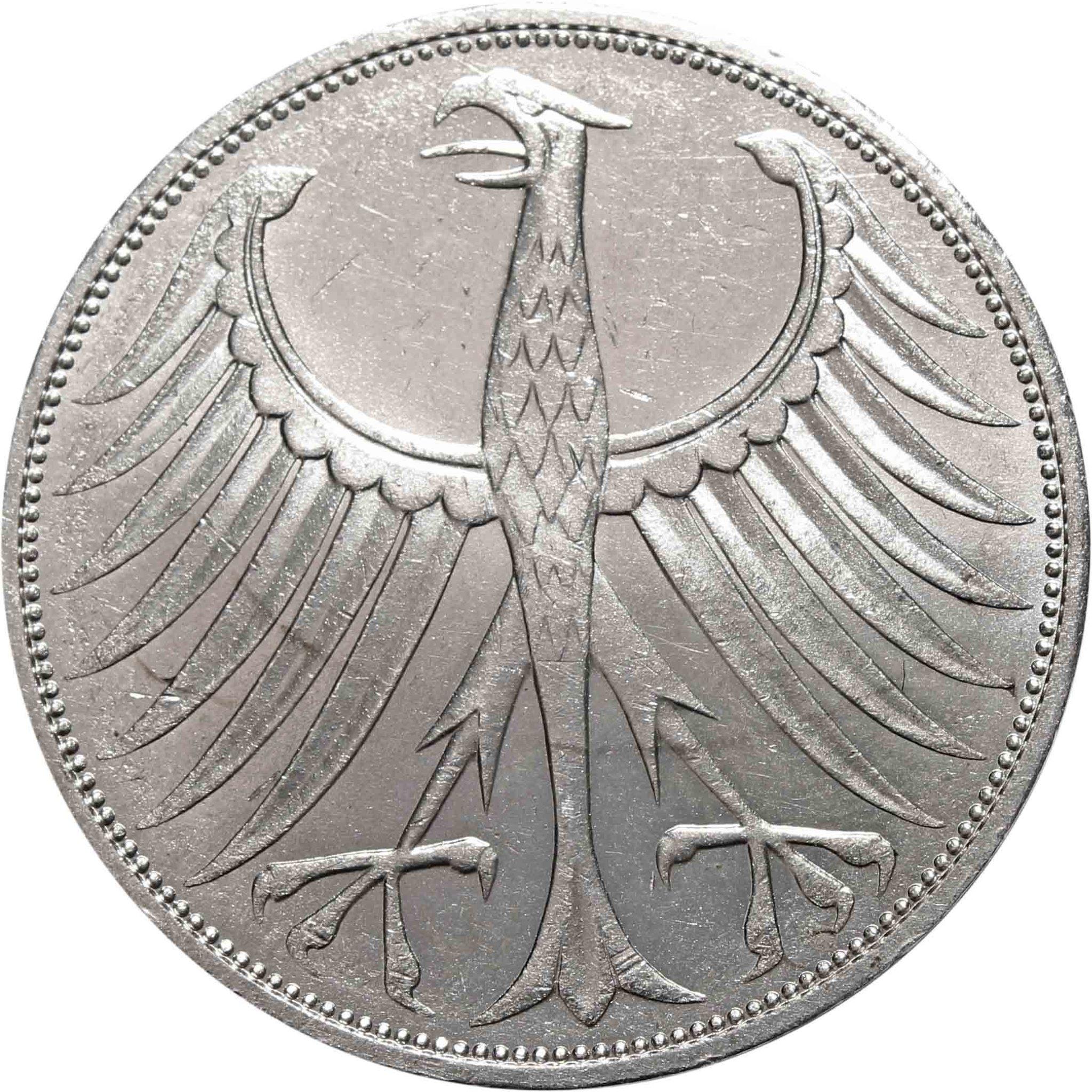 5 марок. Германия. (J). Серебро. 1974 год. XF-AU