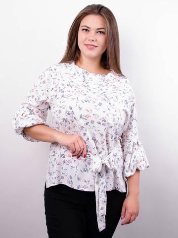 Міла. Стильна блуза великих розмірів. Білий+квіти.
