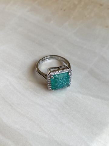 Кольцо Бонарт с бирюзовым цирконом, серебряный цвет