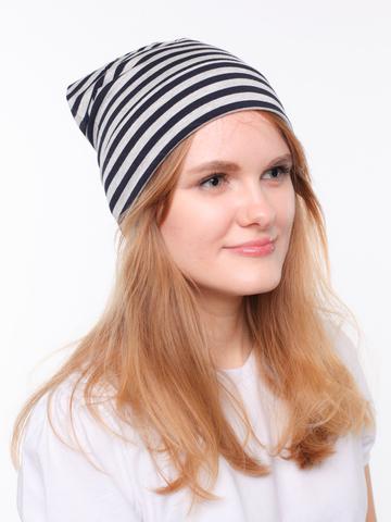 Полосатая вискозная летняя шапочка