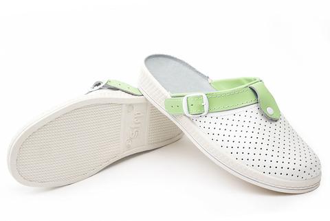 Сабо Комфорт ПВХ, белый/зеленый  женские нат.кожа