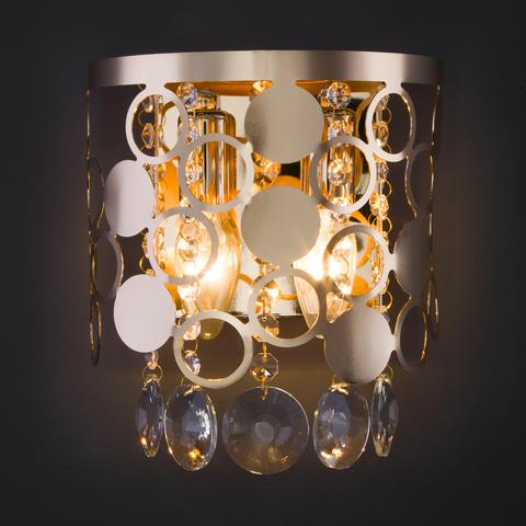 Настенный светильник с хрусталем 10114/2 золото/прозрачный хрусталь Strotskis