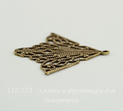 Винтажный декоративный элемент - подвеска 33х30 мм (оксид латуни)