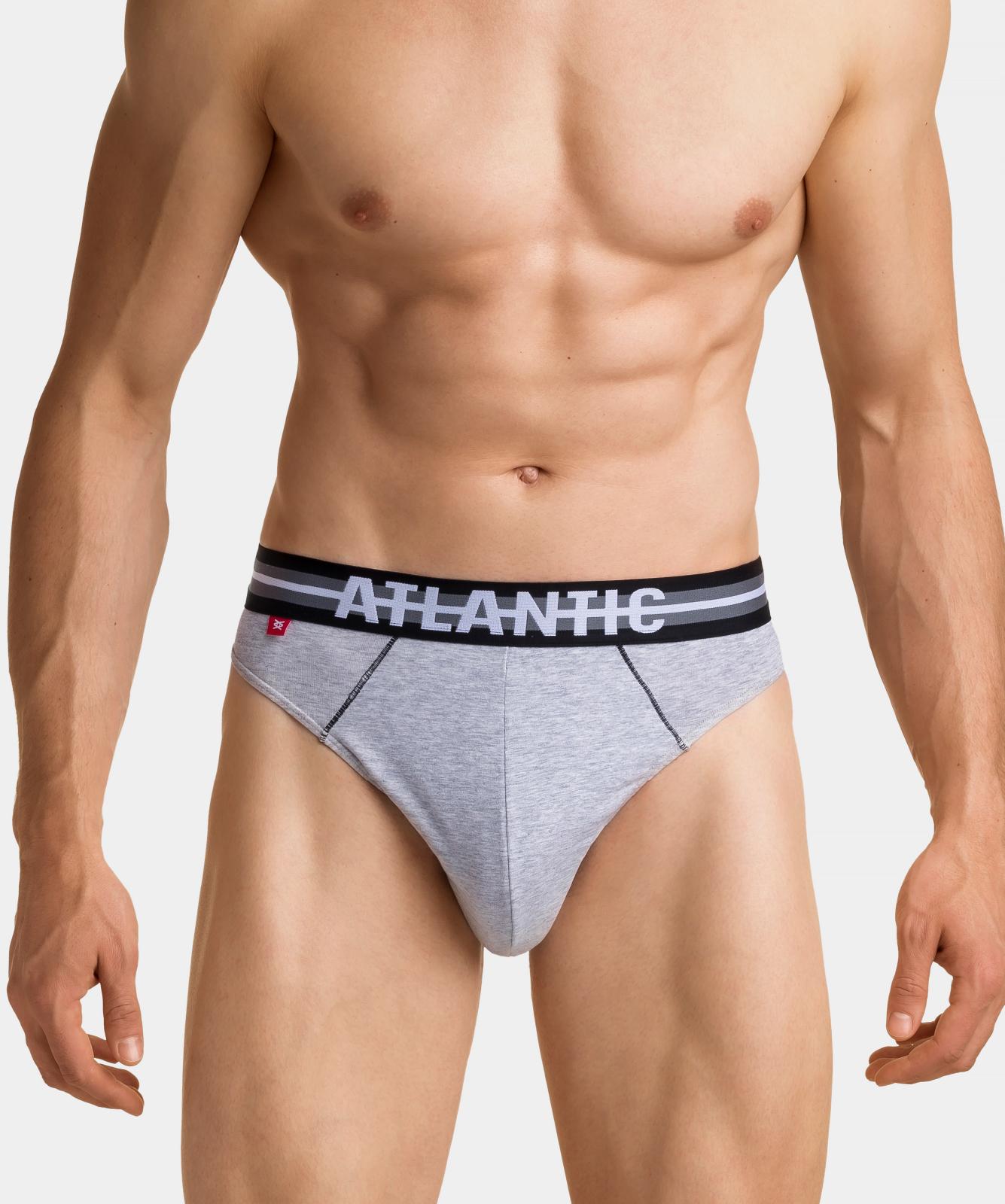 Мужские трусы слипы спорт Atlantic, набор 3 шт., хлопок, хаки + серый меланж + оранжевые, 3SMP-001