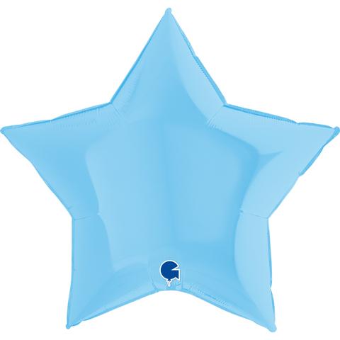 Воздушный шар звезда большая, Голубой макарунс, 91 см