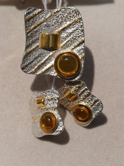 Берта (кольцо + серьги из серебра)