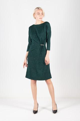 Фото свободное платье изумрудного цвета с длинным рукавом - Платье З427-409 (1)