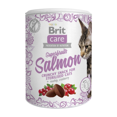 Brit Care Superfruits Salmon Sterilised Лакомство для стерилизованных кошек суперфрутс с лососем