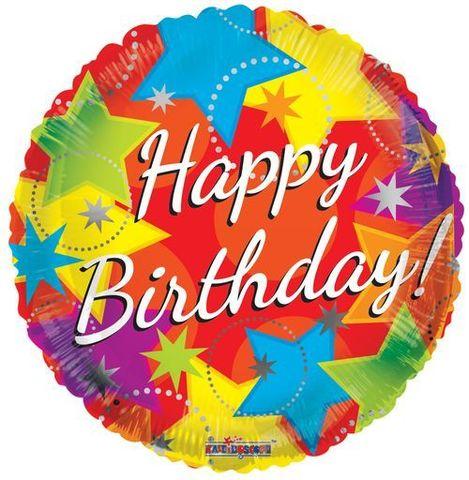 Воздушный шар Happy Birthday, Звезды, 45 см