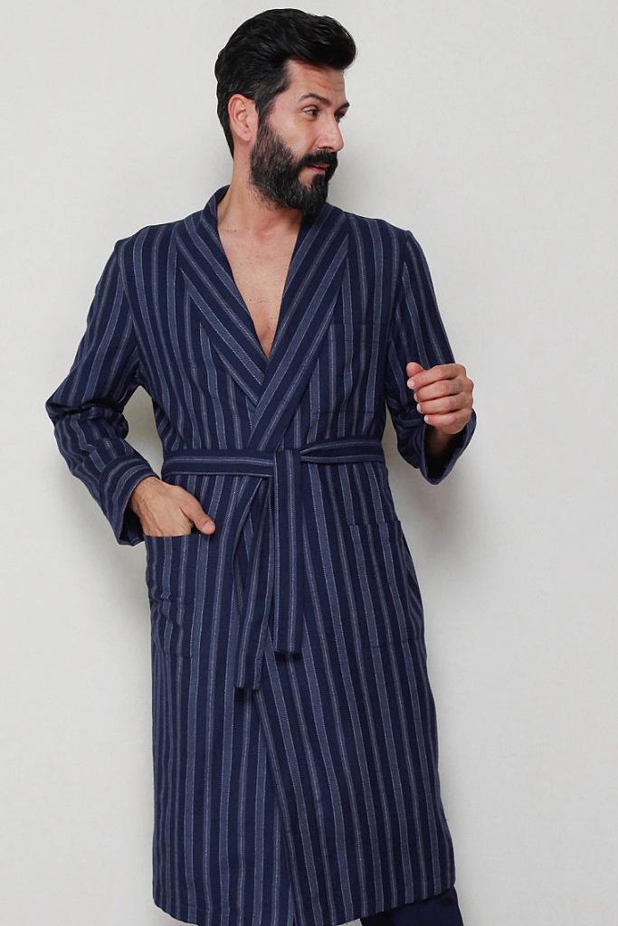 Длинный мужской халат полоску B&B