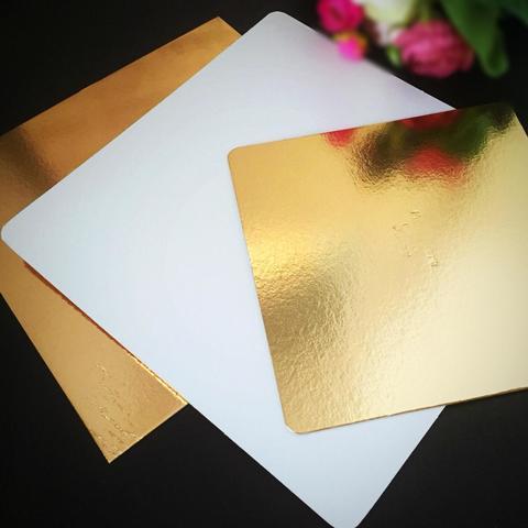 Подложки для торта ПЛОТНЫЕ КВАДРАТ Золото\Перламутр h-1,5мм