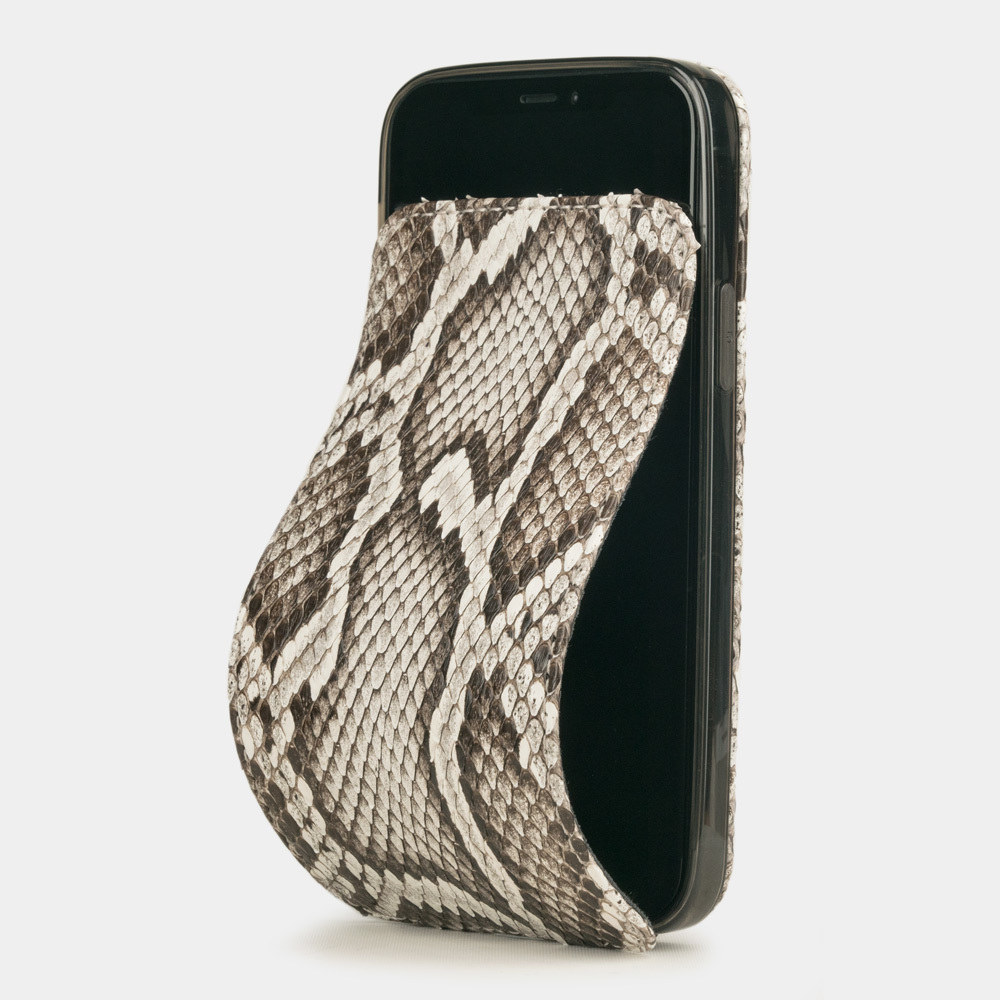 Чехол для iPhone 12 Mini из натуральной кожи питона, цвета Natur